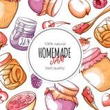 Homemade natural jam and marmalade design template stock illustration