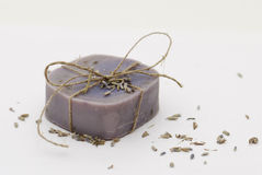 Homemade natural lavender soap Stock Image