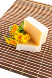 Homemade natural soap on bamboo table mat Royalty Free Stock Image
