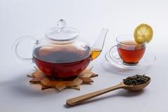 Homemade natural tea set. Big leaf green tea in wooden spoon. Stock Images