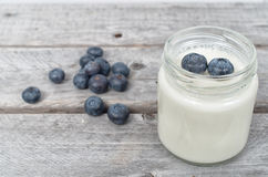 Homemade natural yogurt with blueberries Stock Photo