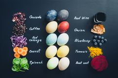 Homemade naturally dyed Easter eggs stock photography