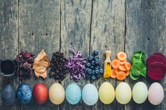 Homemade naturally dyed Easter eggs stock image