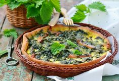 Homemade nettle quiche Stock Image