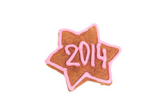 Homemade new year cookie with 2014 number Royalty Free Stock Images