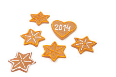 Homemade new year cookies with 2014 number. Royalty Free Stock Photography