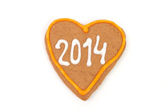 Homemade new year cookies with 2014 number. Royalty Free Stock Photos