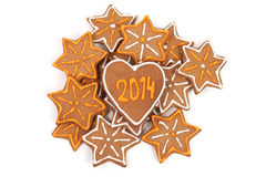 Homemade new year cookies with 2014 number. Royalty Free Stock Image