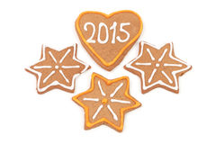 Homemade new year cookies - 2015 number Royalty Free Stock Image