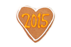 Homemade new year cookies with 2015 number. Royalty Free Stock Images
