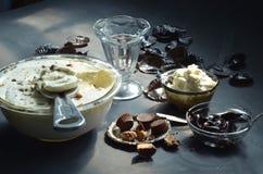 Homemade no churn peanut butter cup ice cream Stock Photo
