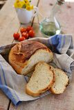 Homemade no knead bread on wooden background Royalty Free Stock Image