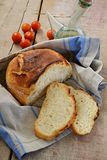 Homemade no knead bread on wooden background Royalty Free Stock Photo