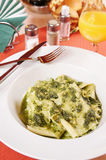 Homemade noodle 'Silk Kerchief' with sauce 'Pesto' Royalty Free Stock Image