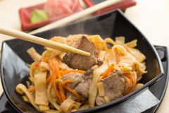 Homemade noodles with meat Stock Photo