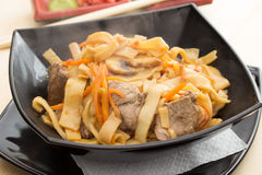 Homemade noodles with meat Stock Image