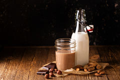 Homemade nut milk. Homemade almond and hazelnut nut milk, regular and with cocoa Stock Image