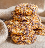 Homemade nuts cookies with chocolate Royalty Free Stock Photo