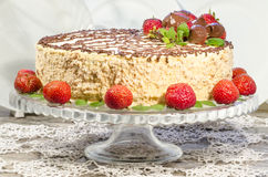 Homemade nutty cake with strawberries Stock Image