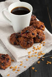 Homemade oat biscuits with coffee Royalty Free Stock Image