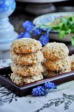 Homemade oat biscuits with sesame seeds royalty free stock photography