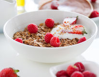 Homemade oat meal granola or muesli with fresh summer fruits – raspberry and strawberry with yogurt. Homemade oat meal granola or muesli with fresh summer Royalty Free Stock Photo