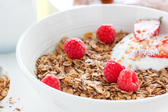 Homemade oat meal granola or muesli with fresh summer fruits – raspberry and strawberry with yogurt. Homemade oat meal granola or muesli with fresh summer Royalty Free Stock Photos