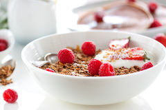 Homemade oat meal granola or muesli with fresh summer fruits – raspberry and strawberry with yogurt Royalty Free Stock Images