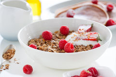 Homemade oat meal granola or muesli with fresh summer fruits – raspberry and strawberry with yogurt Royalty Free Stock Image