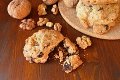 Homemade oat-nut-chocolate cookies Royalty Free Stock Photos