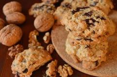 Homemade oat-nut-chocolate cookies Stock Image