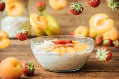 Homemade oatmeal for breakfast. Royalty Free Stock Images