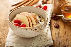 Homemade oatmeal for breakfast. With apple, cinnamon and honey Royalty Free Stock Photos