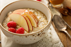 Homemade oatmeal for breakfast. With apple, cinnamon and honey Royalty Free Stock Images