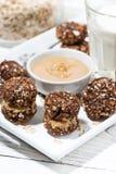 Homemade oatmeal chocolate chip cookies, vertical closeup. Homemade oatmeal chocolate chip cookies, closeup stock image