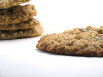 Homemade oatmeal cookies. One large homemade oatmeal cookie in the foreground and a small pile of three others in the backgroung.  Macro close-up on white with a Royalty Free Stock Photos