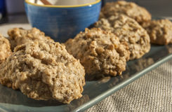 Homemade oatmeal cookies. In plate and blue bowl stock photos