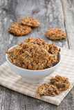 Homemade oatmeal cookies in a bowl, vertical Royalty Free Stock Photos