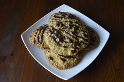 Homemade oatmeal cookies. Homemade cookies, oatmeal cookies with chocolate, healthy biscuits royalty free stock image