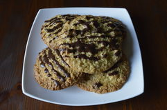 Homemade oatmeal cookies. Homemade cookies, oatmeal cookies with chocolate, healthy biscuits stock photo