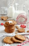 Homemade oatmeal cookies. With christmas decorations top view stock images