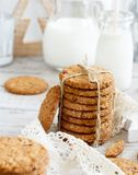 Homemade oatmeal cookies. With christmas decorations top view stock photo