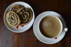 Homemade oatmeal cookies with coffee. Homemade cookies, oatmeal cookies with chocolate, healthy biscuits, with cup of coffee, milk coffee stock image