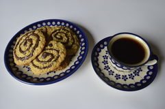 Homemade oatmeal cookies with coffee. Homemade cookies, oatmeal cookies with chocolate, healthy biscuits on plate, with cup of coffee, black coffee royalty free stock images