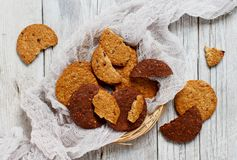Homemade oatmeal cookies. On a dark background top view royalty free stock images