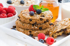 Homemade oatmeal cookies for a healthy breakfast, close-up Royalty Free Stock Photos