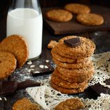 Homemade oatmeal cookies. With chocolate on a dark background royalty free stock images