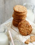 Homemade oatmeal cookies. With milk close up stock images