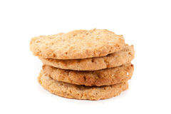 Homemade oatmeal cookies isolated on white. Background Royalty Free Stock Photo
