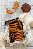 Homemade oatmeal cookies. In a metal box top view stock image